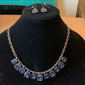 Jewelry - Blue & silver crystal statement necklace earrings